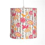 "Calliope Hanging Drum Shade - Birds (14Wx16""T)60 Watt 15' Cord"