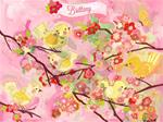 Cherry Blossom Birdies Wall Art Pink and Yellow