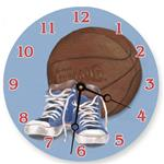Hoops on Blue Painted Clock