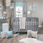 Twiggy 3Pc Set (Quilt, Blue Print sheet, Crib Skirt)