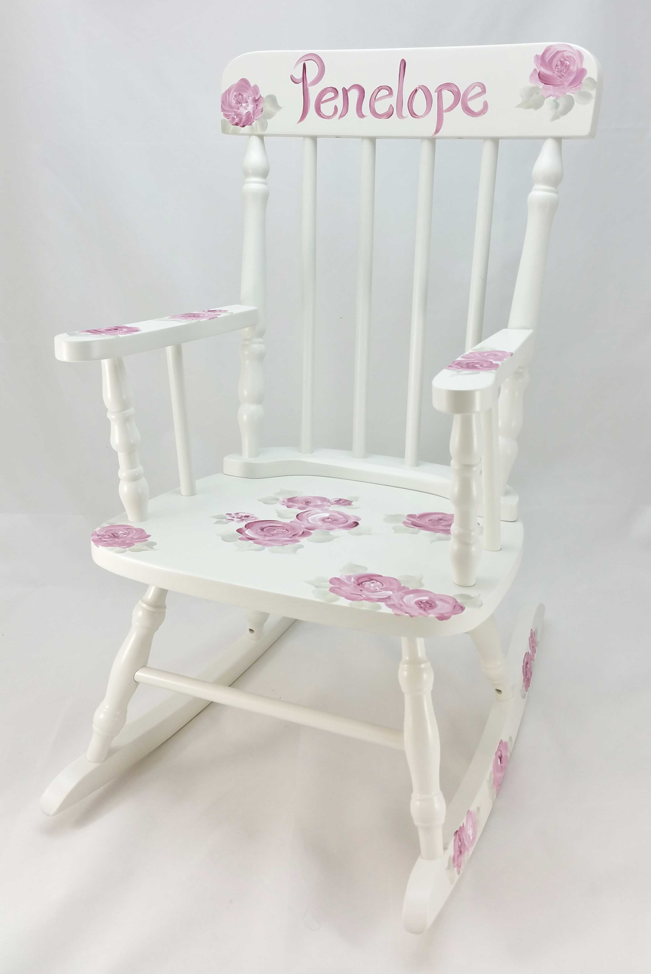 Deep Pink Roses Personalized Rocking Chair Purple
