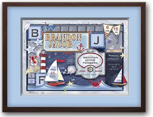 baby patchwork nautical birth announcement