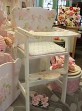 Doll High Chair - custom painted roses