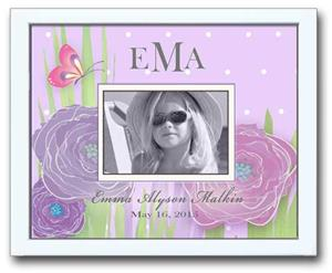 Personalized Photo Frame - Butterfly Garden Lilac