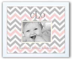 Personalized Photo Frame - Chevron Pink and Grey