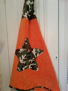Green Camo and Orange Toddler Hooded Towel