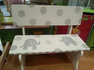 Hand Painted Elephant Bench