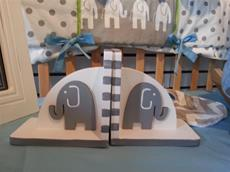 Hand painted Bookends Elephants in Grey