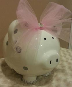 Chic Grey Polka dot Personalized Piggy Bank