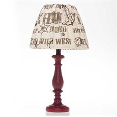 "Carson Red Lamp Base with Cowboy Print Shade (12x12x24"")"