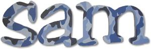 Blue Camo Jester Style Letters