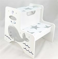 Double Step Stool with Whale