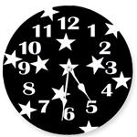 Black and White Stars Wall Clock