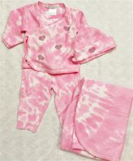 Baby Steps 3 piece Tie Dye Pink Hearts