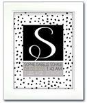 Modern Initial Birth Announcement - Paint dots Black