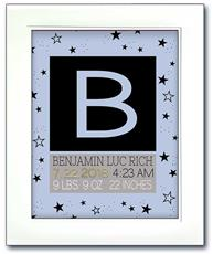 Modern Initial Birth Announcement - Blue with Black Stars