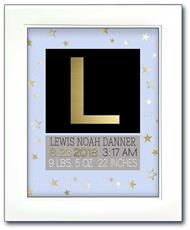 Modern Initial Birth Announcement - Blue with Gold Stars