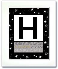 Modern Initial Birth Announcement - Black and White Stars