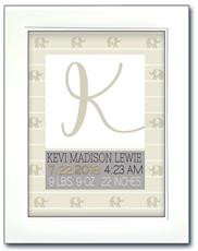 Modern Initial Birth Announcement - Elephants Beige