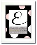 Modern Initial Birth Announcement - Giant Dots Pink