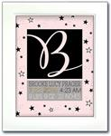 Modern Initial Birth Announcement - Pink and Black Stars
