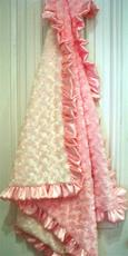 Cream and Pink Baby Blanket