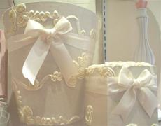 Fabric Covered Waste Basket - Ivory with Ribbon Applique