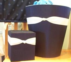 Fabric Covered Waste Basket - Navy Silk with Ivory Ribbon
