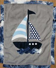 Custom Sailboat Baby Blanket in Blue and Grey