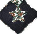 Green Camo Star on Black Infant Towel