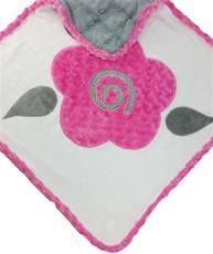 Mod Rose Hot Pink with Grey Trellis Infant Hooded Towel