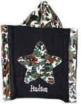 Green Camo Toddler Towel on Black