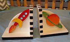 Hand Painted Bookends Outer Space