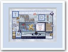 Baby Patchwork Airplane Birth Announcement