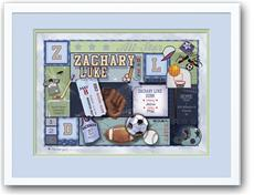 Baby Patchwork Sports Green and Blue Birth Announcement