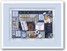 Baby Patchwork Sports Grey and Blue Birth Announcement