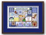 Baby Patchwork Cowboy Dark Blue and Grey Birth Announcement