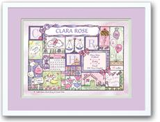 Baby Girl Patchwork Lilac Birth Announcement