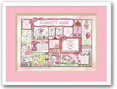 Baby Girl Patchwork Pink, Lime and Chocolate Birth Announcement