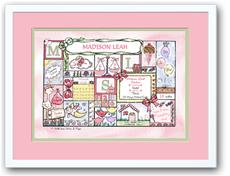 Baby Girl Patchwork Classic Pastel Birth Announcement
