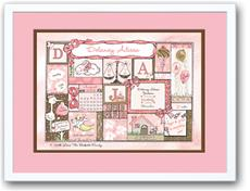 Baby Girl Patchwork Pink and Chocolate Birth Announcement