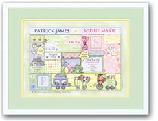 Baby Patchwork Twins Birth Announcement