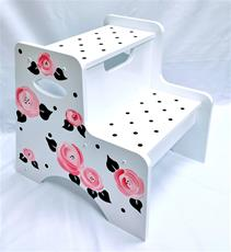 Double Step Stool - Cabbage Roses