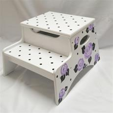 Double Step Stool Storage - Cabbage Roses and Dots Purple