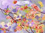 Cherry Blossom Birdies Wall Art Lavender