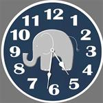 Elephant Navy Wall Clock