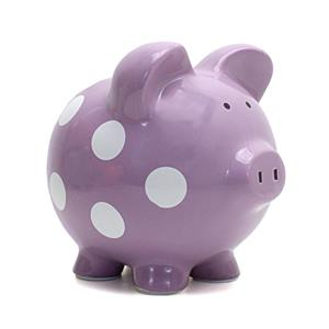 Lavender Polka dot Piggy Bank