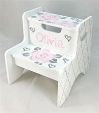 Double Step Stool - Pink Fun Flowers