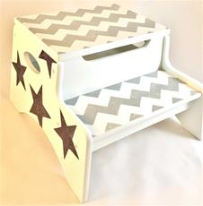 Double Step Stool Storage - Chevron and Stars