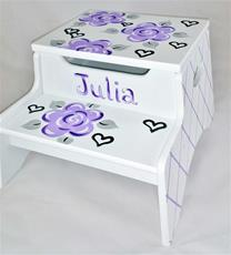 Double Step Stool Storage - Lavender Fun Flowers